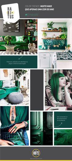 Moodboard traz referências de uso da cor Emerald (Esmeralda), aposta para o próximo ano e que também pode ser aplicada em mobiliário