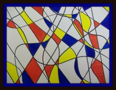 Original abstract art 11x15 markers on watercolor paper vivid colors red, yellow, blue cobalt blue primary colors. $39.00, via Etsy.