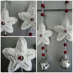 patroon kersthangers. Tutorial in Dutch. The original pattern for this star is here http://expimag.blogspot.com/2007/12/christmas-star-ornaments.html