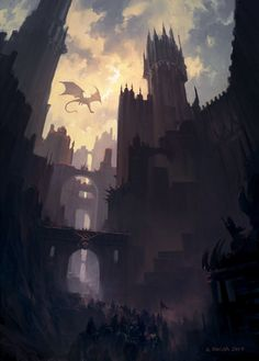 Dragon's Pass, Andreas Rocha on ArtStation Fantasy City, Fantasy Castle, Fantasy Places, Dark Fantasy Art, Fantasy World, Fantasy Island, Fantasy Landscape, Landscape Art, Landscape Concept