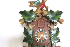 Colorful Wooden Cuckoo Clock, Made In Germany