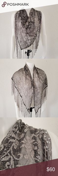 Lace Scarf Hair Wrap Stole Metallic Shiny Print Triangle Sheer for church Women