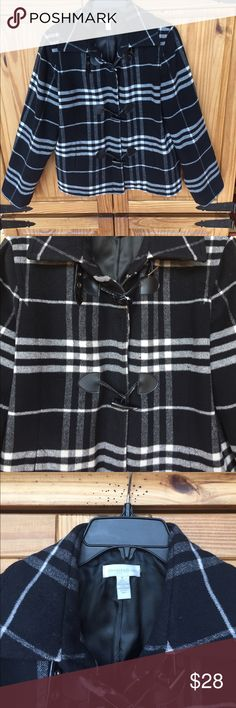 Medium weight black & white lined plaid coat Great plaid coat, medium weight, brass zipper, cute buttons, front pockets, lined coat in great condition Charter Club Jackets & Coats