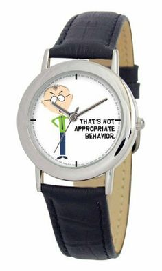 South Park Men's D1540SS001 Torino Collection Mr. Mackey Black Leather Watch South Park. $29.99. Water-resistant to 99 feet (30 M). Durable mineral crystal. Genuine leather strap with buckle. South Park artwork. Quality and precise Japanese-quartz movement