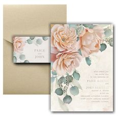 Refreshing Floral Pocket Wedding Invitation Icon Online Fonts, Pocket Wedding Invitations, Matching Cards, Lettering Styles, Foil Stamping, Response Cards, Watercolor Flowers, White Envelopes, Your Cards
