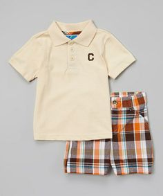 Love this Tan & Orange Plaid Polo & Shorts - Infant & Toddler on #zulily! #zulilyfinds My new favorite store. 8.99 today. I love saving money!