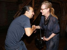 Star Tracks: Monday, August 17, 2015 | BOW DOWN | Hamilton creator and cast member Lin-Manuel Miranda shows his excitement as he meets the legend herself, Meryl Streep, after a performance of the Broadway hit on Thursday in N.Y.C.
