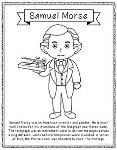 samuel morse coloring page or poster great addition for history interactive notebooks or research unit