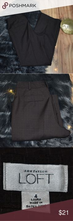 Loft Brown Grid print slacks Inseam 31' Loft EUC LOFT Pants Trousers