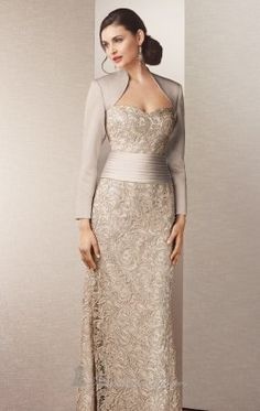 Embroidered Lace Gown by Alyce Jean De Lys 29558