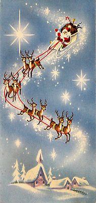 Santa Claus Flying Blue Sky Team of Reindeer Stars 1950's Vintage Christmas Card