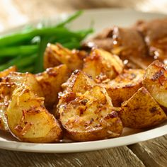 Onion-Roasted Potatoes: These crispy, savory potatoes take only 10 minutes to prep! #potatoes #sides #dinner