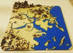 Lasercut 3D topographical map of greater Boston