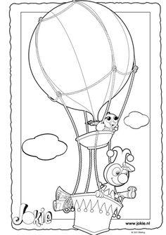 Jokie & Jet in hun luchtballon! 🌞 Je favoriete Efteling figuren op een kleurplaat! | Your favourite Efteling characters on a colouring page!