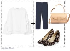 5 shirts to wear now - and how to style them - coco mama style | flare sleeve blouse, leopard heels, barrel bag, navy tailored trousers, work wear