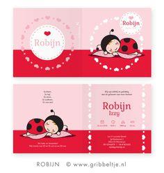 Geboortekaartje met lieveheersbeestje - Birth announcement with ladybug * Made by Gribbeltje *