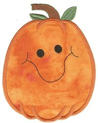 This funny and happy pumpkin would look wonderful on blankets, pillows, and decor! Pumpkin Applique, Hand Applique, Embroidery Applique, Embroidery Patterns, Halloween 6, Halloween Pumpkins, Applique Designs, Machine Embroidery Designs, Jack O Lantern Faces