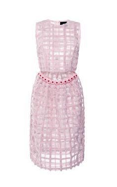 Pink Brushed Wool Check Beaded Dress by  for Preorder on Moda Operandi