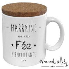"""Mug avec son couvercle en liège """"Fée Marraine"""""""