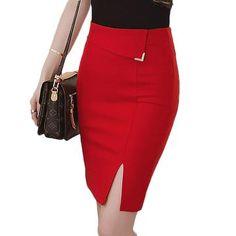 fab7ad3a71 5XL Plus Size Slim Office Skirt Faldas Women Elastic High Waist Pencil Skirt  Step Office Formal Skirt Saias Skirts