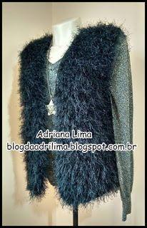 Adriana Lima: Colete peludinho Insano em crochê