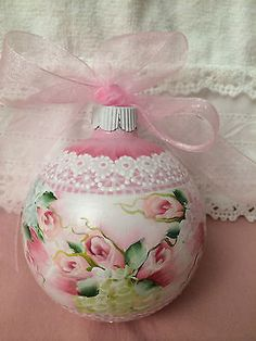 How pretty is this with is painted lace and roses? Hand painted Christmas ornament by Cottage Chic on eBay.