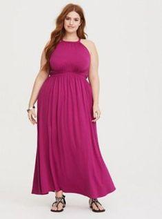 9696abb7b4ee Raspberry High Neck Jersey Maxi Dress in Red  maxidressessummer Summer  Chic