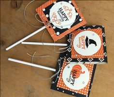 September 2015 Paper Pumpkin Wickedly Sweet Treat -- stamp set used to make Lollipop covers with Happy Haunting Designer Paper