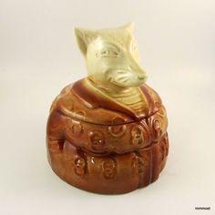Antique Majolica Figural Humidor Tobacco Jar Fox Wearing A Smoking Jacket | eBay