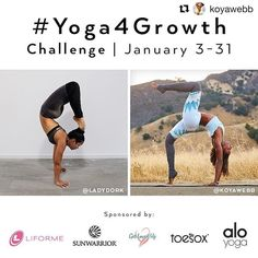 Loving these growth challenges and growth always seems like an appropriate focus to start a new year. Who's in?  #Repost @koyawebb with @repostapp  New Year New You Baby and we're all about GROWTH one day at a time!!!! We have another #Yoga4Growth challenge coming for you January 3rd-31st with @koyawebb and @ladydork Tag your Friends and Repost this graphic!  ------ We would like to START or continue helping you with your yoga journey.  We will focus on: ARM BALANCES AND INVERSIONS this…