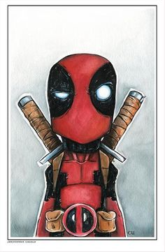 Original Watercolor Deadpool by Christopher Uminga Marvel Comic Character, Comic Book Characters, Marvel Characters, Comic Books Art, Comic Art, Deadpool Art, Deadpool Tattoo, Marvel Fan, Cute Cartoon Wallpapers