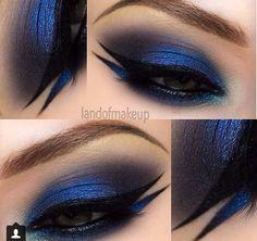 Blue smokey eye double eyeliner landofmakeup