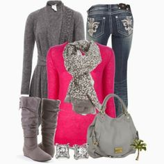 pink along with grey cardigan denim pants with long boots and leather hand bag