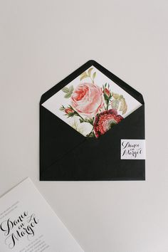 Beautifully bold botanical wedding invitations with a rich black envelope makes quite the statement! Click the link to see more of this set!