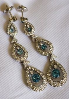 "Tiffany Earrings Diamond And Aquamarine - Your ""so"