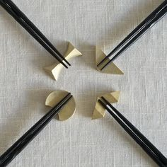 """Wink"" Brass Chopstick Rests, Boxed Set of 4"