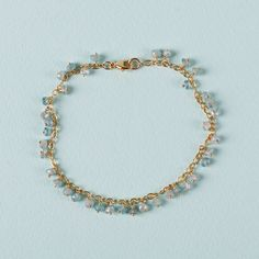 Paint your nails a shiny robin's egg blue to highlight this bracelet's cool blue color.