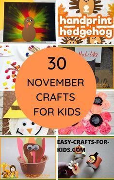 November Crafts for Kids Making Fall Fun. These kids crafts for November include turkeys, banners, wreaths, paper crafts, pom poms and lots more.