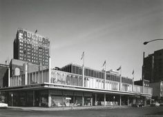 The Bertrand Goldberg designed Walton Gardens building at Rush and Walton, 1956, Chicago. Notice the top floor was a Universal Recordings sp...