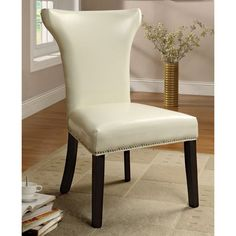 Furniture of America Renoir Leatherette Accent Chairs - Set of 2