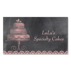 Elegant white cake with florals cake decorating business card card chalkboard bakery business card with pink cake reheart Image collections