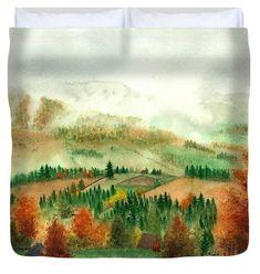 Transylvanian Autumn Duvet Cover featuring the painting Transylvanian Autumn by Olivia C