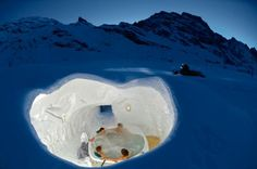 Igloo Village – Zermatt, Switzerland Just look at this. Tell me you wouldn't love to relax in a jacuzzi embedded directly into this snow covered private igloo? Zermatt, Oh The Places You'll Go, Places To Travel, Places To Visit, Igloo Village, Village Hotel, Switzerland Hotels, Ice Hotel, Hotel Spa