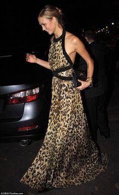 Karli Kloss leopard print dress.