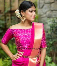 off shoulder blouse with pattu sarees