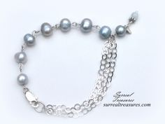 Pale Blue Pearls - Bracelet.. Sterling Silver, Pale blue Pearls  PBPB0021814 by SurrealTreasures on Etsy https://www.etsy.com/listing/211722200/pale-blue-pearls-bracelet-sterling