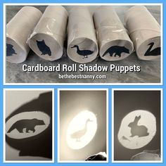 Creative Wednesdays Making shadow puppets is a quick and easy boredom buster. Although, I have always found it a little tricky to use my hands to make shadow puppets, this is an easier way to make … Cardboard Crafts Kids, Cardboard Rolls, Cardboard Art, Toddler Fun, Toddler Crafts, Preschool Activities, Kids Activities At Home, Infant Activities, Diy For Kids