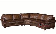 Foster Leather True Sectional Sofa with Down-Blend Cushions by Bernhardt at Savvy Home. $5,599.00
