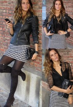 Studded Houndstooth  , Italy in Jackets, Mango in Skirts, frieda in Over The Knee, Balenciaga in Clutches, Zara in Shirt / Blouses