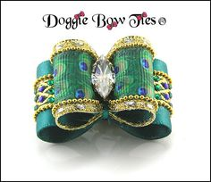 Peacock Show Dog Bow by Doggie Bow Ties!